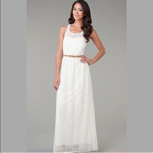 City Triangles Southern Cream Lace Maxi Dress